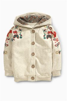 Oatmeal Flower Hoody (3mths-6yrs)