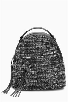 Black/White Tweed Rucksack