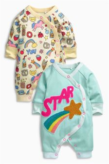 Teal Star Long Sleeve Rompers Two Pack (0mths-2yrs)