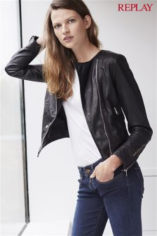 Replay® Black Lambskin Biker Jacket