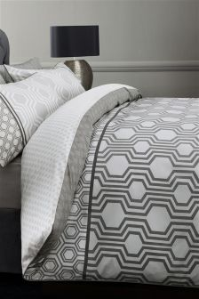 Cotton Rich Luxe Geo Stripe Black Bed Set