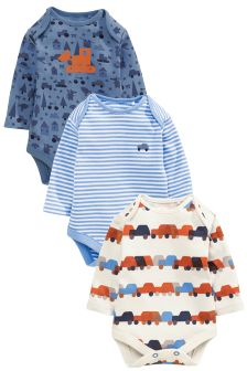 Navy Digger Print Long Sleeve Bodysuits Three Pack (0mths-2yrs)
