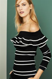 Off-The-Shoulder Ruffle Sweater