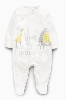 White/Lemon I Love Mummy Sleepsuit (0-18mths)