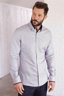 White/Burgundy Contrast Collar Shirt