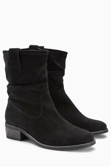 Square Toe Suede Slouch Ankle Boots