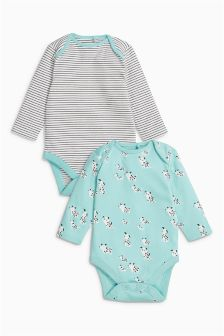 Mint Long Sleeved Dog Character Bodysuits Two Pack (0mths-2yrs)