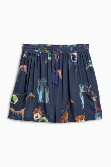 Navy Animal Print Flippy Skirt (3-16yrs)