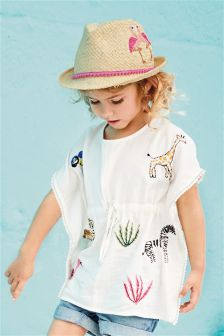 Ecru Embroidered Kaftan (3mths-6yrs)
