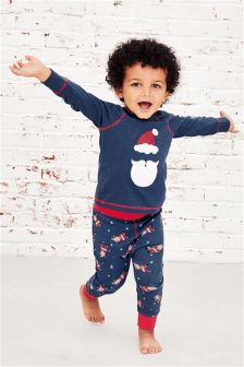 Navy/Red Santa Pyjama Set (9mths-8yrs)