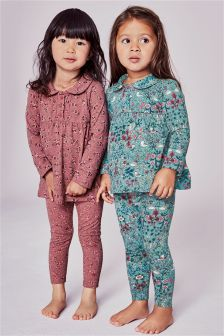 Teal/Pink Floral Pyjamas Two Pack (9mths-8yrs)