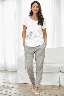 Grey/White Bird Print Jersey Pyjamas