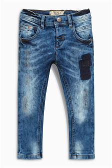 Mid Blue Distressed Stretch Jeans (3mths-6yrs)
