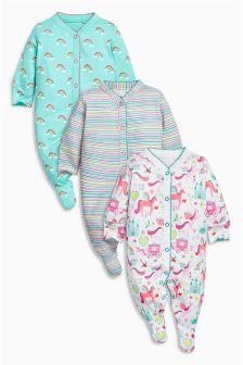 Multi Unicorn Sleepsuits Three Pack (0mths-2yrs)