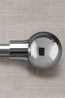 Brushed Silver Barrel 19mm Diameter Extendable Curtain Pole Kit