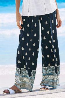 Navy Print Wide Leg Trousers