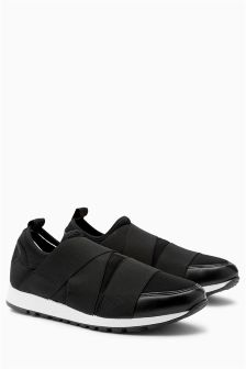 Black Slip-On Elastic Trainers