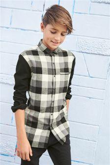 Monochrome Long Sleeve Check Shirt (3-16yrs)