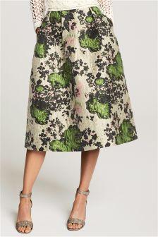 Stone Floral Jacquard Prom Skirt