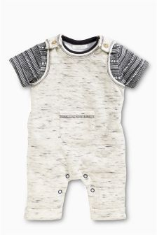 Neutral Jersey Dungarees (0mths-2yrs)