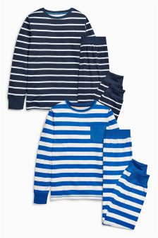 Blue Stripe Pyjamas Two Pack (3-16yrs)