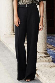 Black Textured Wide Leg Trousers