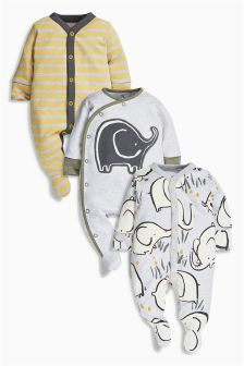 Grey Dreamer Elephant Sleepsuits Three Pack (0mths-2yrs)