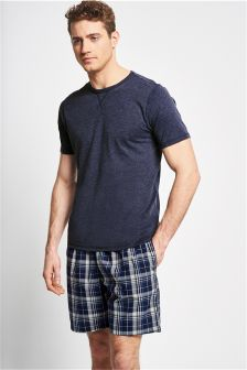 Navy Check Woven Short Set