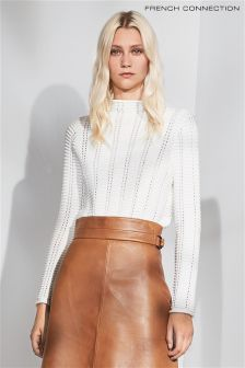 French Connection White Ladder Knit Jumper