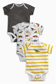 Grey Dino Short Sleeve Bodysuits Three Pack (0mths-2yrs)