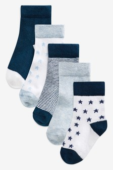 Blue/Navy Socks Five Pack (Younger Boys)