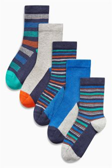 Multi Bright Stripe Socks Five Pack (Older Boys)