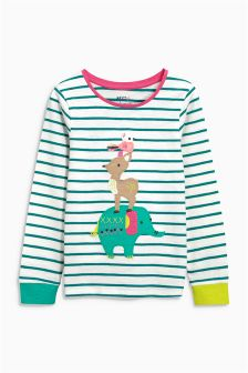 Stripe Appliqué Animal T-Shirt (3mths-6yrs)