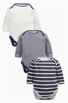 Navy Stripe Long Sleeve Bodysuits Three Pack (0mths-2yrs)