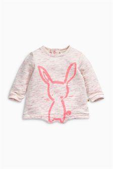 Ecru/Pink Bunny Sweat Top (0mths-2yrs)