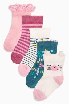 Pink/White/Teal Floral Socks 5 Pack (Younger Girls)