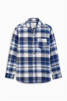 Indigo Long Sleeve Check Shirt (3-16yrs)