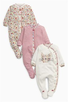 Multi Floral Print Sleepsuits Three Pack (0mths-2yrs)