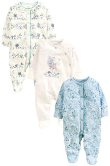 White/Teal Fairy Sleepsuits 3 Pack (0mths-2yrs)