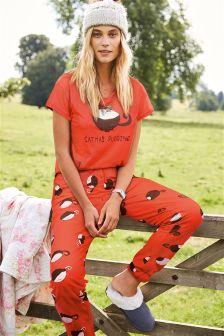 Red Catmus Slogan Pyjamas