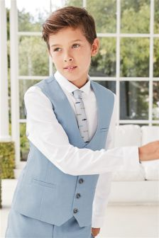 Light Blue Chambray Waistcoat Set (12mths-16yrs)