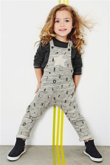 Grey Letter Dungaree Set (3mths-6yrs)
