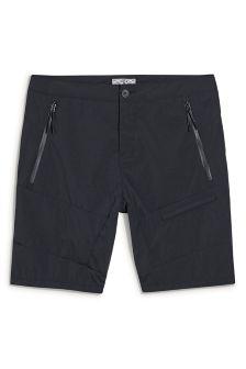Charcoal Nylon Panelled Shorts