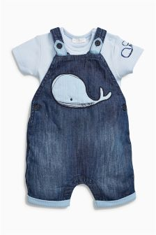 Denim Whale Crop Dungarees With Short Sleeved Bodysuit (0mths-2yrs)