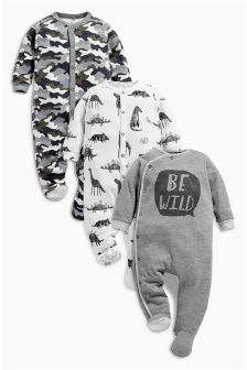 Monochrome Dino Sleepsuits Three Pack (0mths-2yrs)