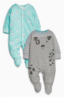 Mint Dog Character Sleepsuits Two Pack (0mths-2yrs)