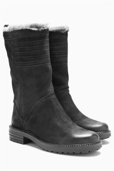 Black Leather Stitch Slouch Boots