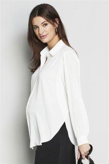 Ecru Maternity Drape Shirt