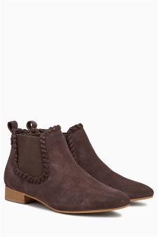 Chocolate Plait Detail Chelsea Boots