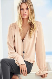 Blush Wrap Front Long Sleeve Top